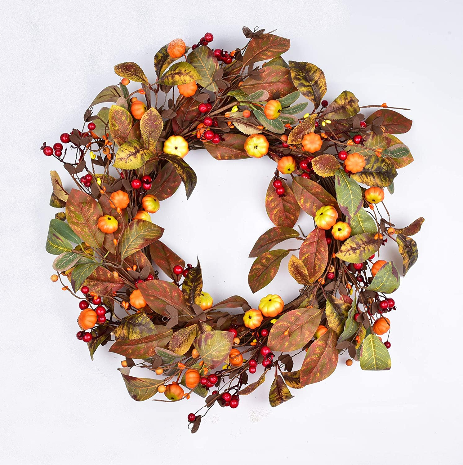 18Inch Artificial Pumpkin Berry Wreath - Fall Leave Wreath Front Door Wreath for Home Kitchen Thanksgiving Decor