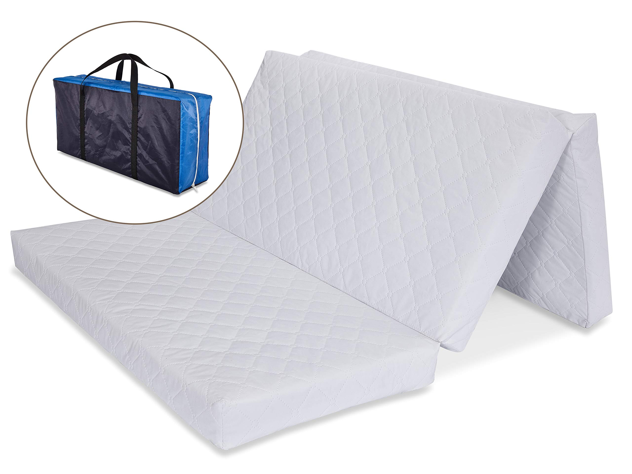 LA Baby Multi-Use Waterproof Folding Portable Crib Mattress/Play Mat with Travel Carry Case, 1.5'' - Easy to Clean, Hypo-Allergenic, Anti-Microbial & Non-Toxic Cover, 1.5'' by LA Baby