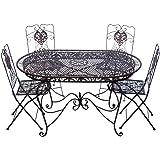 Garnitur Gartentisch 4 Stühle braun Eisen Gartenmöbel Stuhl Antikstil Nostalgie