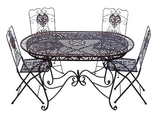 Tavoli Da Giardino In Ferro Battuto E Mosaico.Aubaho Set Tavolo Da Giardino 4 Sedie Da Giardino In Ferro Marrone