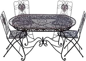 aubaho Conjunto Mesa 4 sillas de jardín de Hierro marrón Muebles Silla Nostalgia: Amazon.es: Jardín