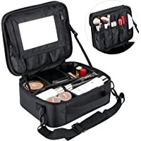 Portable Large Makeup Bag for Women Make Up Bags Organiser Case Professhional Cosmetic Bag with Removable Mirror & Adjustable Dividers
