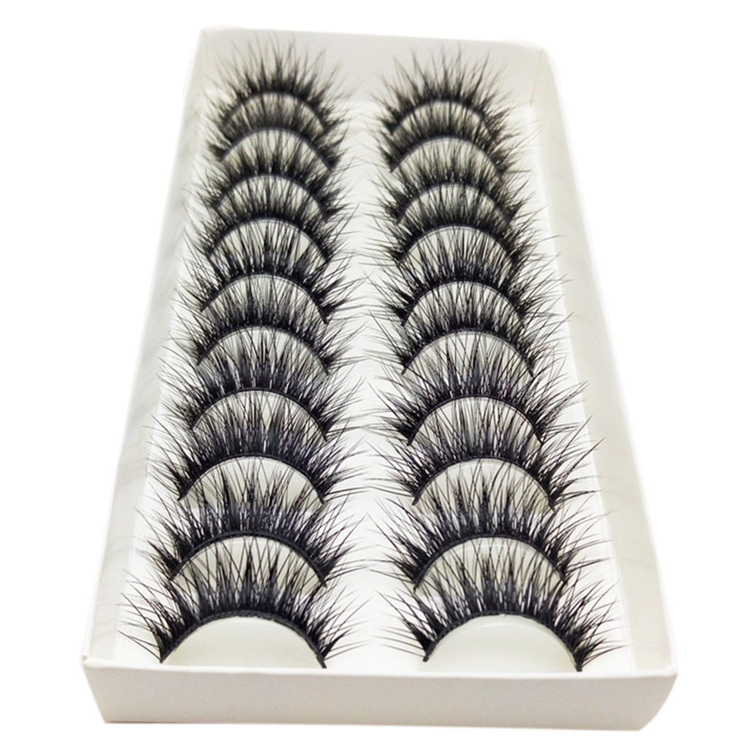 Bluelans® 10 Pairs High Quality Handmade Black Long Thick Cross False Eyelashes Makeup Eye Lash Extension