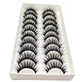 Bluelans® 10 Pairs High Quality Handmade Black Long Thick Cross False Eyelashes Makeup Eye Lash Extension