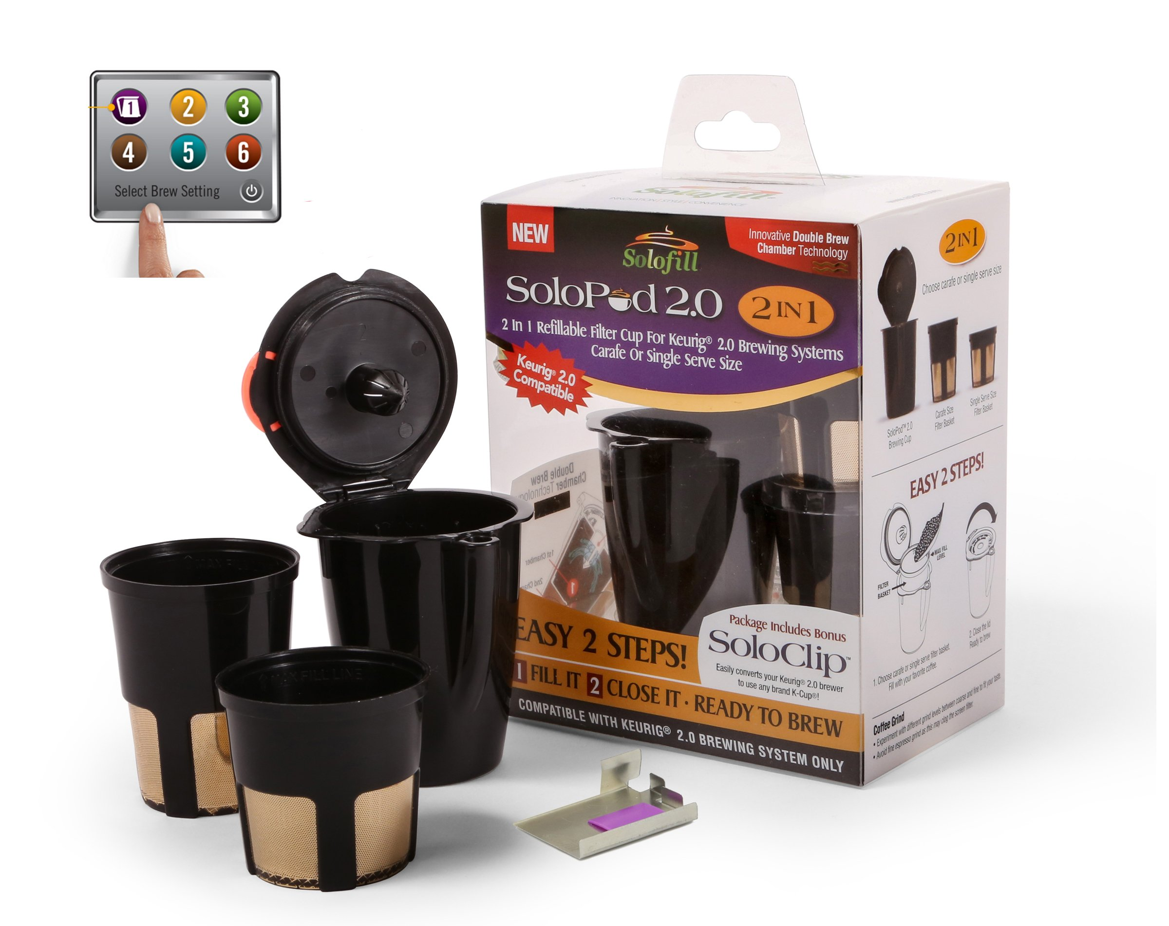 SOLOFILL 2.0 2in1 Refillable Filter Cup for Keurig 2.0 K200, K300, K400, K500 and PLUS Series carafe or single serve size (Full Menu)