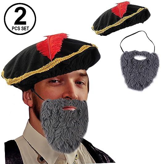 c29e578466e Amazon.com  Tigerdoe Renaissance Costume - 2 Pc Set - Medieval Hat with  Beard - Minstrel Costume- Renaissance Costume Accessories  Clothing