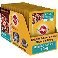 Pedigree Wet Dog Food, Chicken & Liver Chunks in Gravy for Adult Dogs – 80g Pouch (Pack of 15)