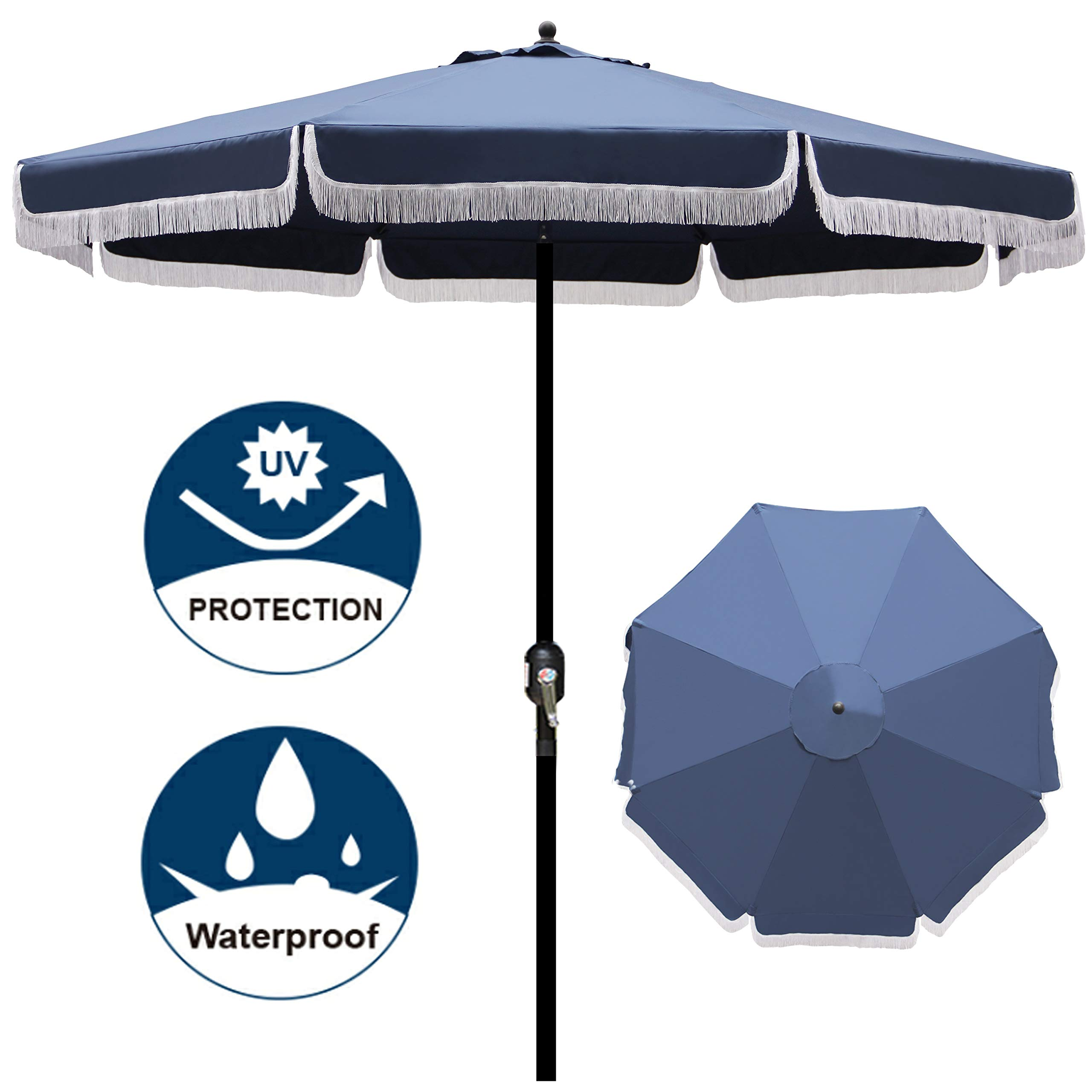 Blissun 9' Outdoor Patio Umbrella with Fringe, Aluminum Manual Push Button Tilt and Crank Garden Parasol by Blissun
