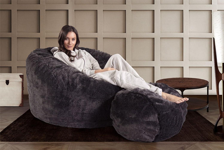 f7d5d10a7b Lounge Pug® - CLOUDSAC - The Footstool - FAUX FUR - BADGER Black - (Size  50cm Wide x 40cm Dia)  Amazon.co.uk  Kitchen   Home