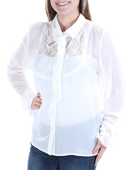56036e8bf Fairchild 59 Womens New 1395 White Sheer Lace Cuffed Button up Top M ...
