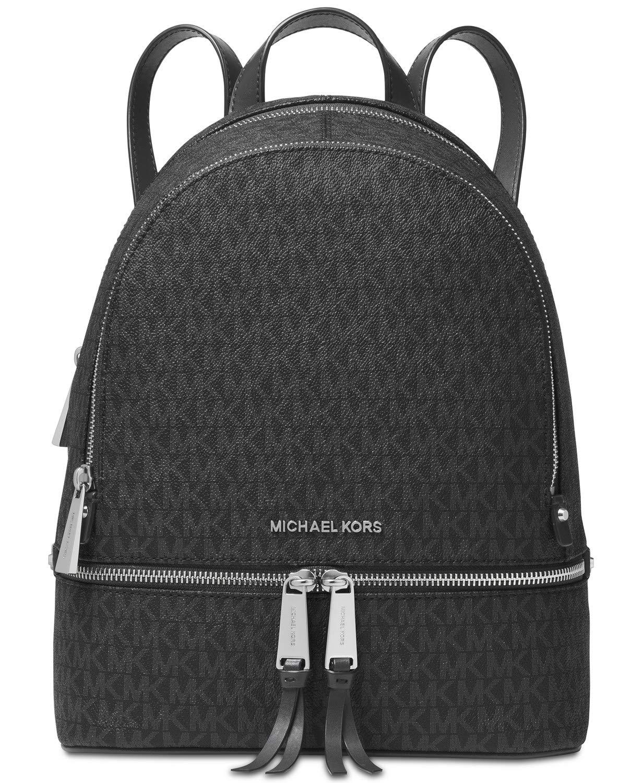 3952ef39de3d9 Amazon.com   Michael Kors Rhea Zip Backpack (Medium, Signature Charcoal)    Casual Daypacks