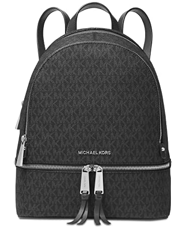 e8a73ea9ef8bf Michael Kors Rhea Zip Backpack (Medium, Signature Charcoal)