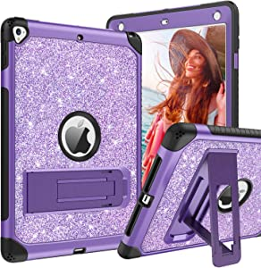 BENTOBEN Case for iPad 5th/6th Generation, iPad 9.7inch 2017/2018 Case, iPad Air 2 Case, iPad Pro 9.7 Case, Glitter Sparkle 3Layer Kickstand Hybrid Durable Leather Shockproof Protective Cover, Purple