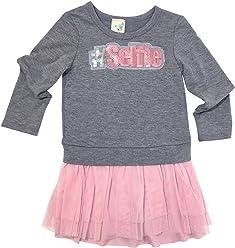 4c2f7070e591 Lily Bleu Little Girls Heather Grey Pink  SELFIE Tutu Dress
