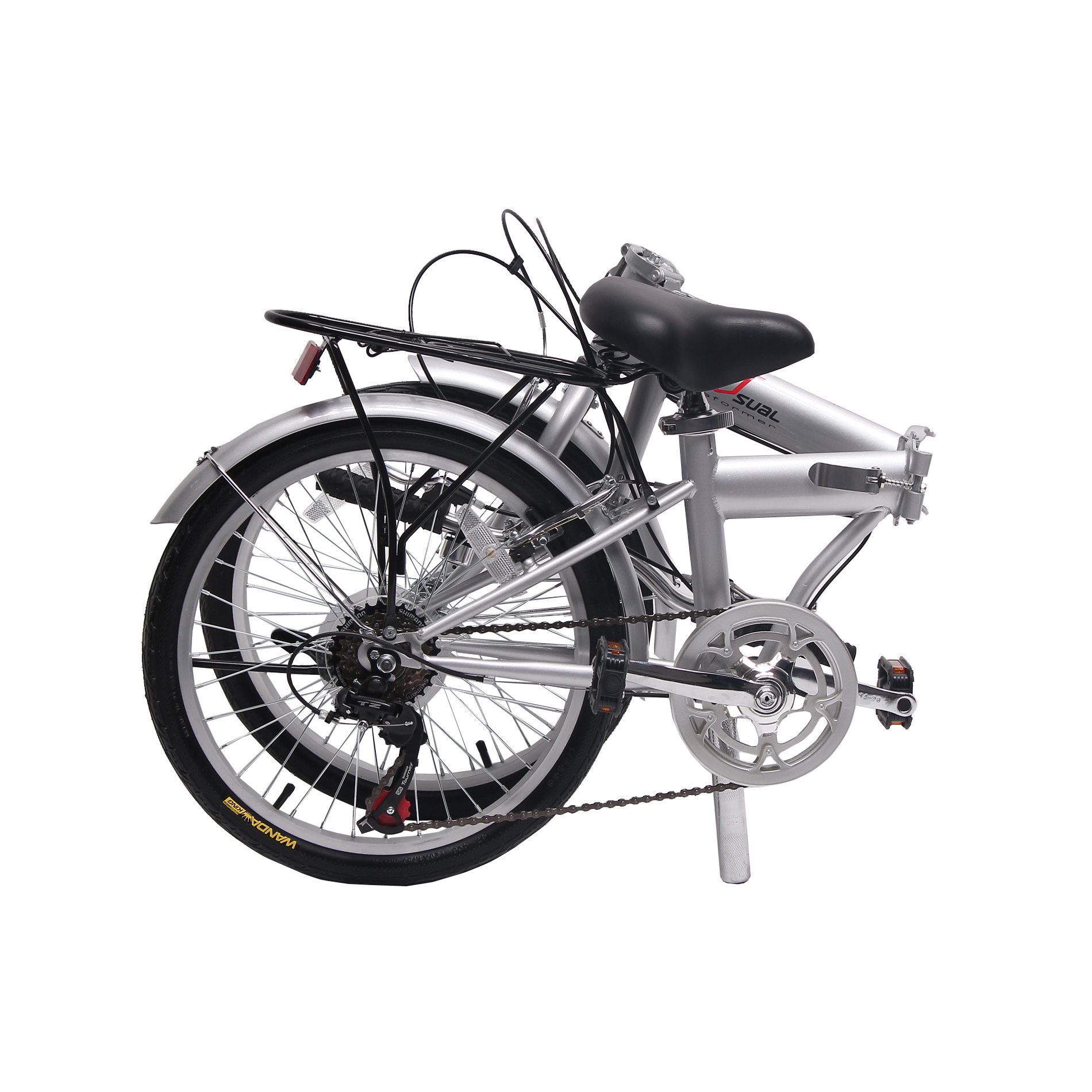 unYOUsual U transformer 20'' Folding City Bike Bicycle 6 Speed Shimano Gear Steel Frame Mudguard Rear Carrier Silver by IDS (Image #2)
