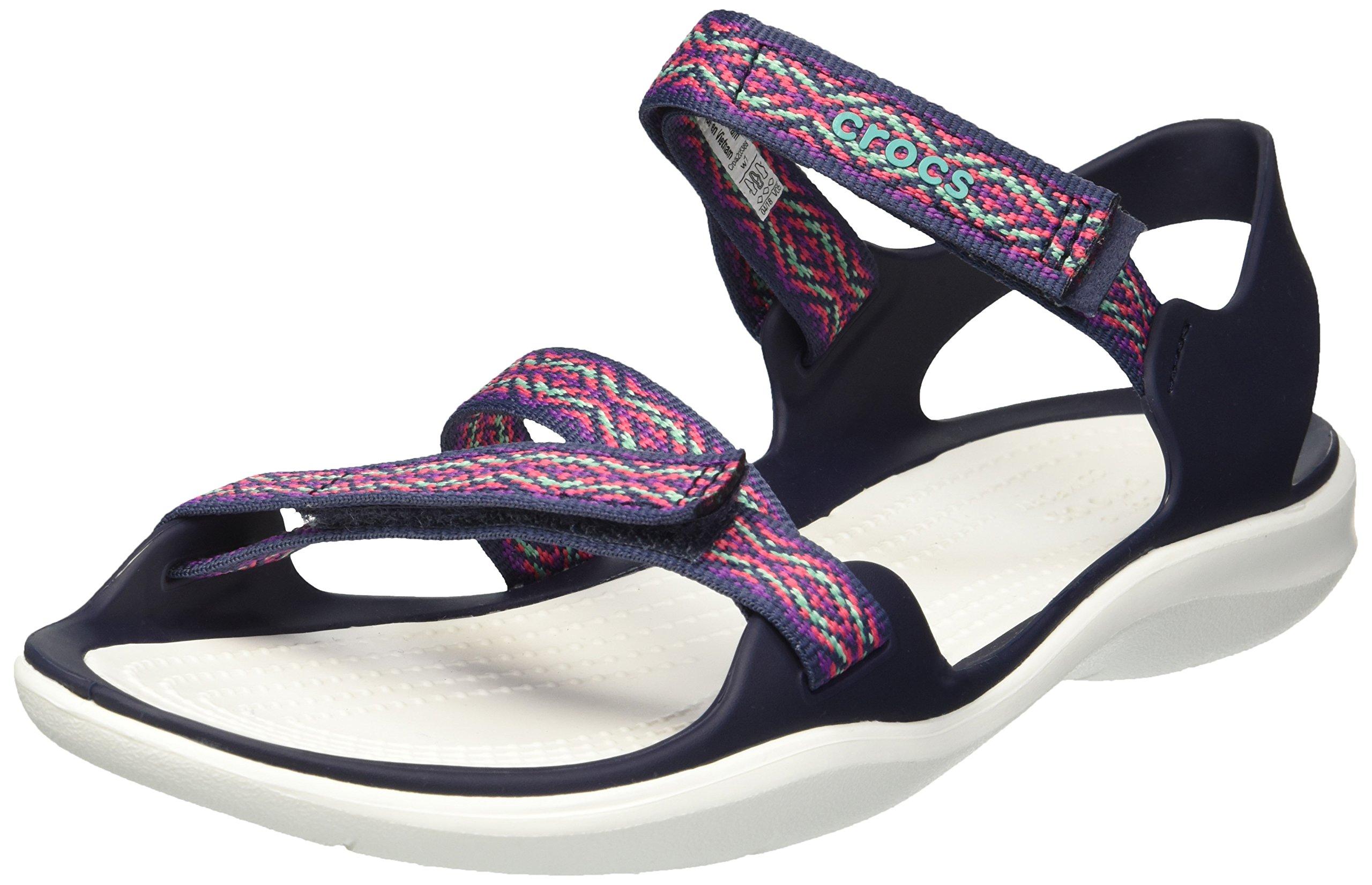 Crocs Women's Swiftwater Graph Webbing Sport Sandal, Navy/Diamond, 8 M US