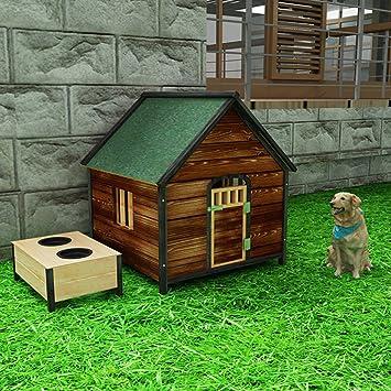 LDFN Caseta De Madera Maciza Carbonizada Al Aire Libre Sala De Perros A Prueba De Agua Para Mascotas Pequeños Gatos Y Perros,C-L.: Amazon.es: Hogar
