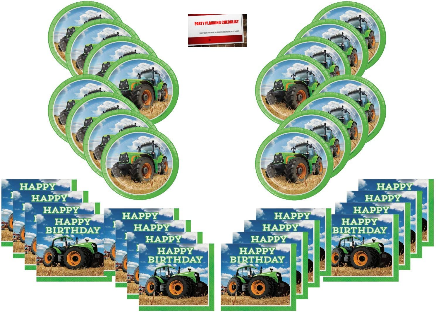 Tractor Time Party Supplies Bundle Pack for 16 Guests (Plus Party Planning Checklist By Mikes Super Store)