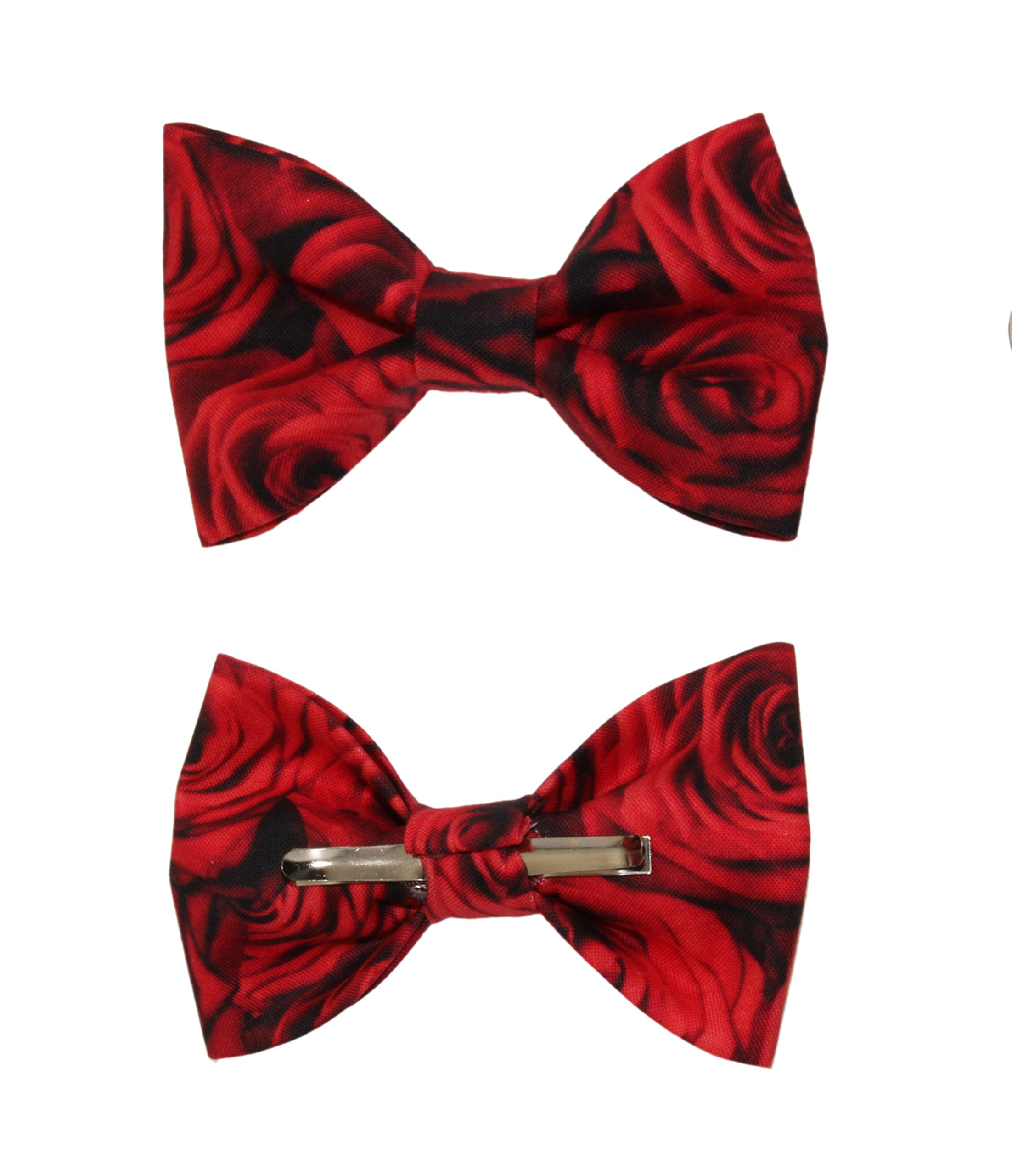Boys Red Rose Floral Clip On Cotton Bow Tie Bowtie by amy2004marie