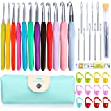 ZesGood 12 Pack Large Crochet Hooks Set with 1 Case, 9 Large Eye Blunt Needles for Knitting, 1 60-Inch Tape Measure