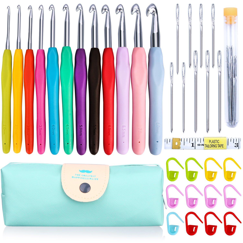 KeNeer 35Pack Crochet Hooks Knitting Needles Set Ergonomic Soft Handles - Aluminum Blunt Needles - 2.0mm-8.0mm - Best Gifts for Mom 4336922931