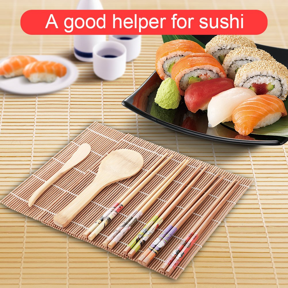 Homemade Sushi Gadget,13Pcs//set Bamboo Sushi Making Kit for Family Office Party 5 Pairs of Chopsticks Include 1 Spoon 1 Sushi Blade and 1 Sushi Curtain Sushi Kit
