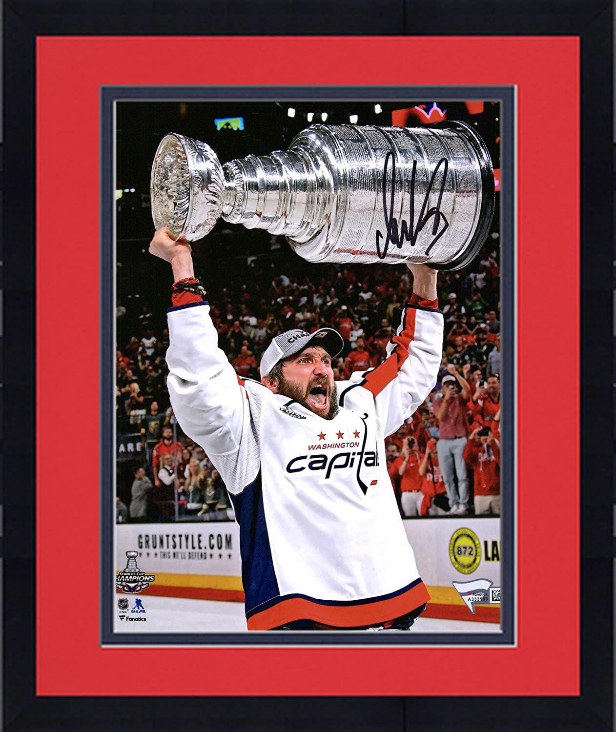 Framed Alex Ovechkin Washington Capitals 2018 Stanley Cup Champions Autographed 8' x 10' Raising Cup Photograph - Fanatics Authentic Certified
