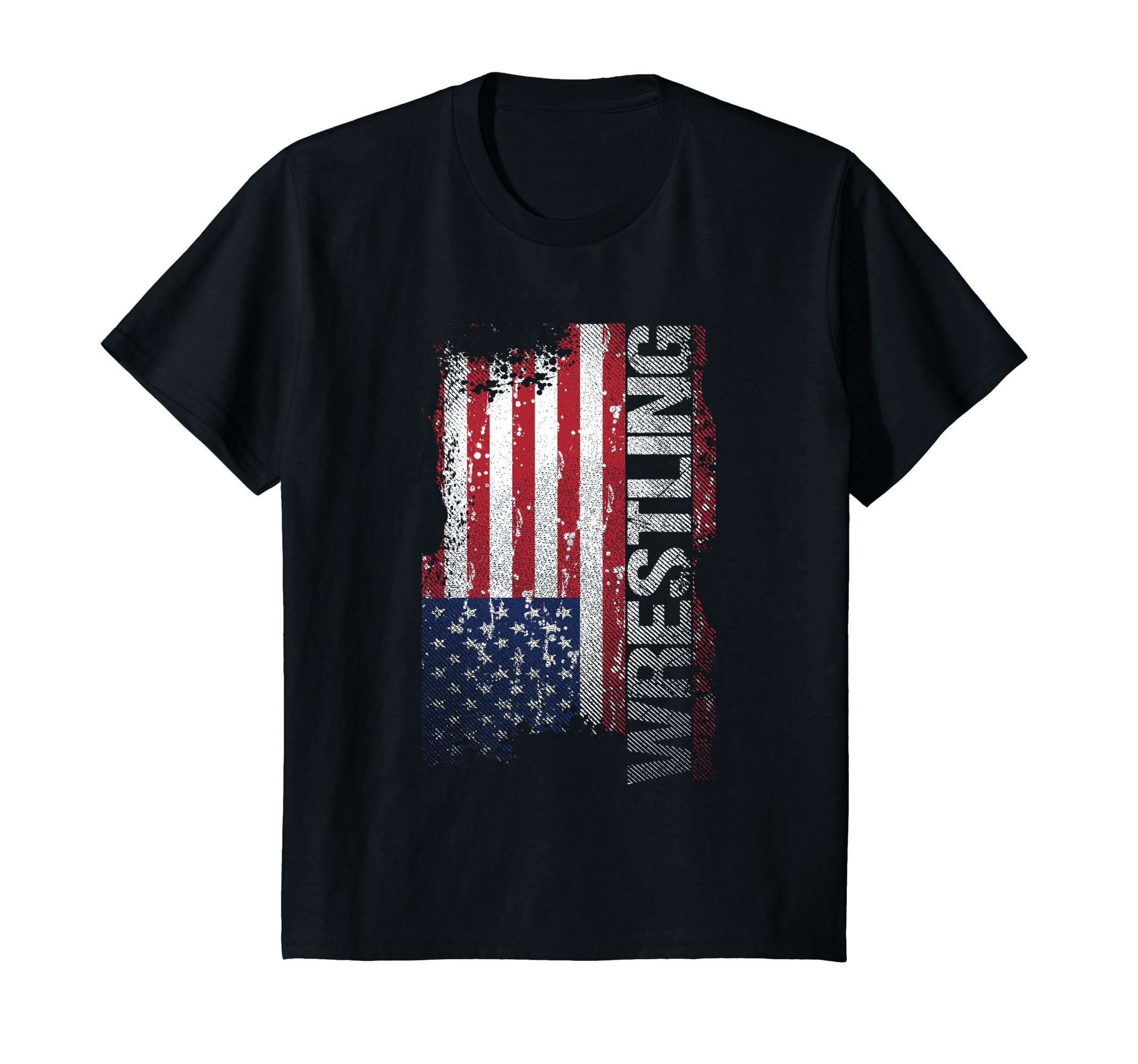 Kids USA Flag folkstyle Wrestling T-Shirt, College Wrestlers Tee 12 Black by Zerobubble folkstyle Wrestling T-Shirt
