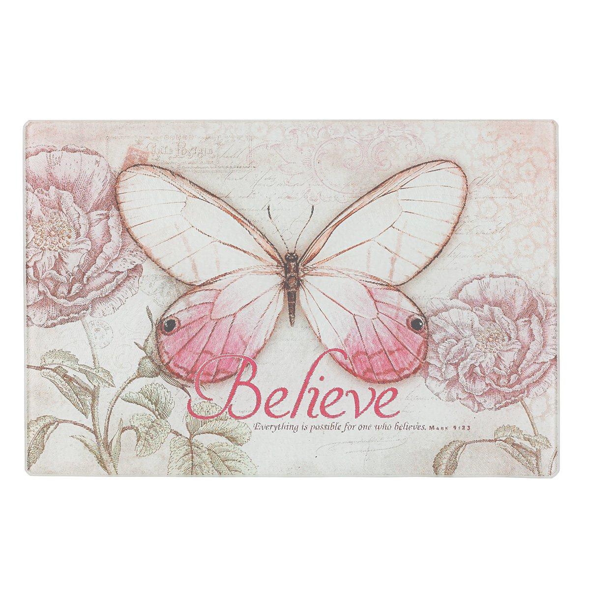 Botanic Butterfly Blessings''Believe'' Glass Cutting Board/Trivet - Mark 9:23 (Small: 11 7/8 x 7 7/8)