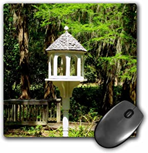 3dRose 8 x 8 x 0.25 Inches Mouse Pad (A Victorian Influenced Bird Feeder is a Lovely Garden Focal Point at Edisto Memorial Gardens Mouse Pad (mp_155296_1)
