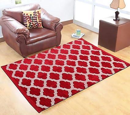 Buy Red Hot Multicolor Velvet Floor Carpet- 5 feet X 7 feet Online ...
