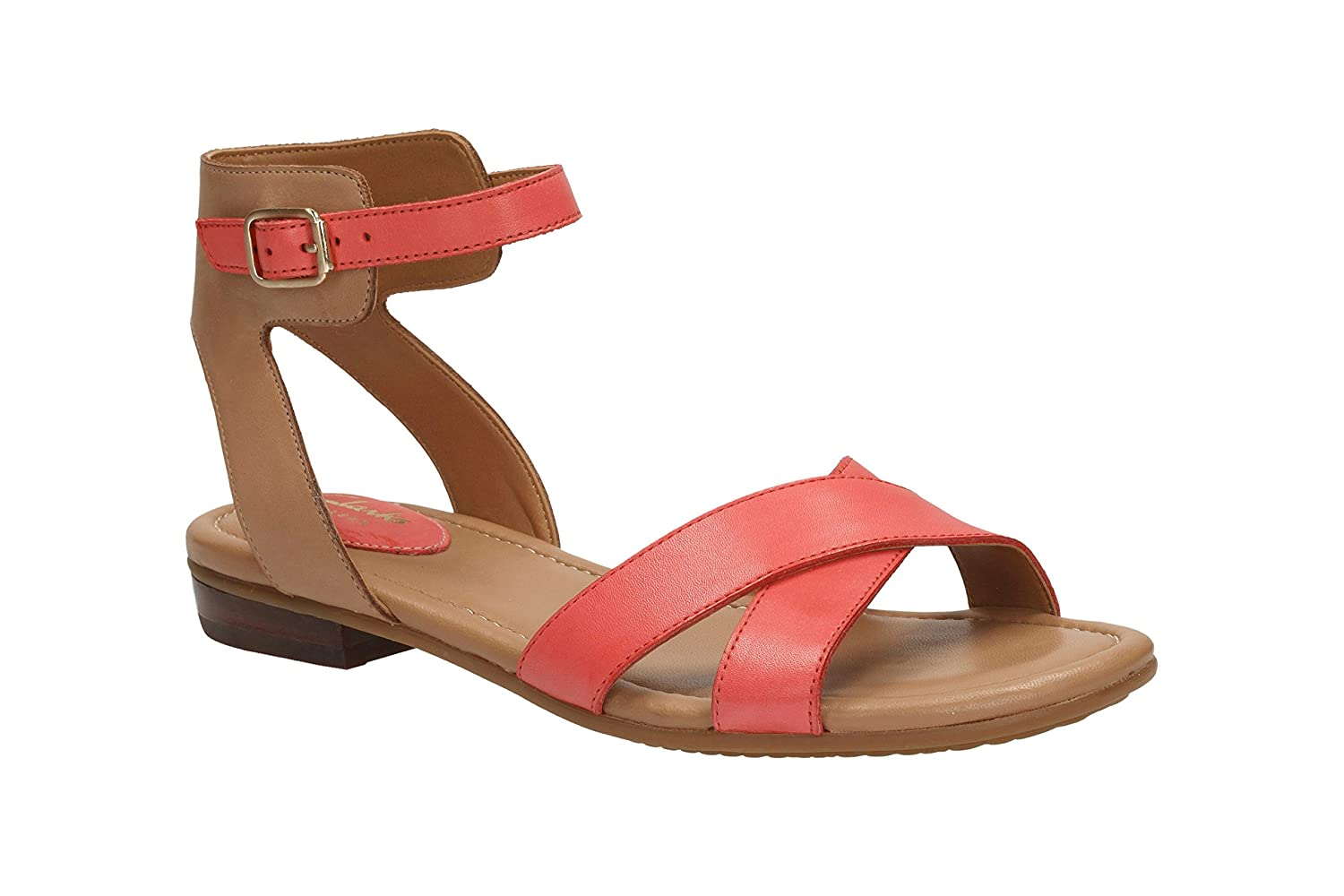 249fde45ebed Clarks Womens Viveca Zeal Leather Sandals In Coral Wide Fit Size 4E   Amazon.co.uk  Shoes   Bags