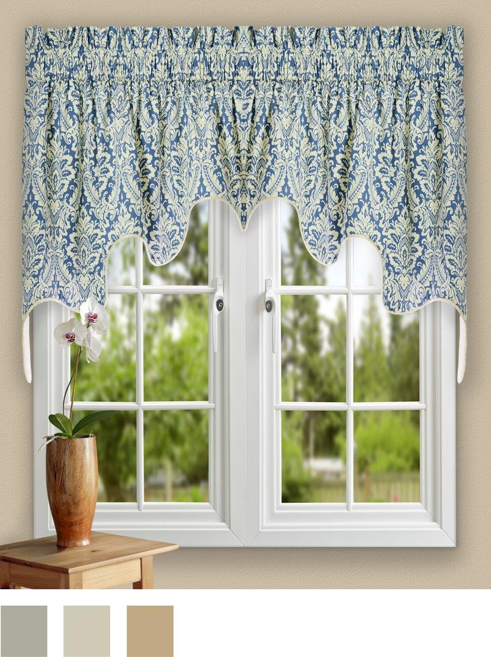 Ellis Curtain Donnington 100-by-30 Inch Lined 2-Piece Duchess Valance, Cornflower