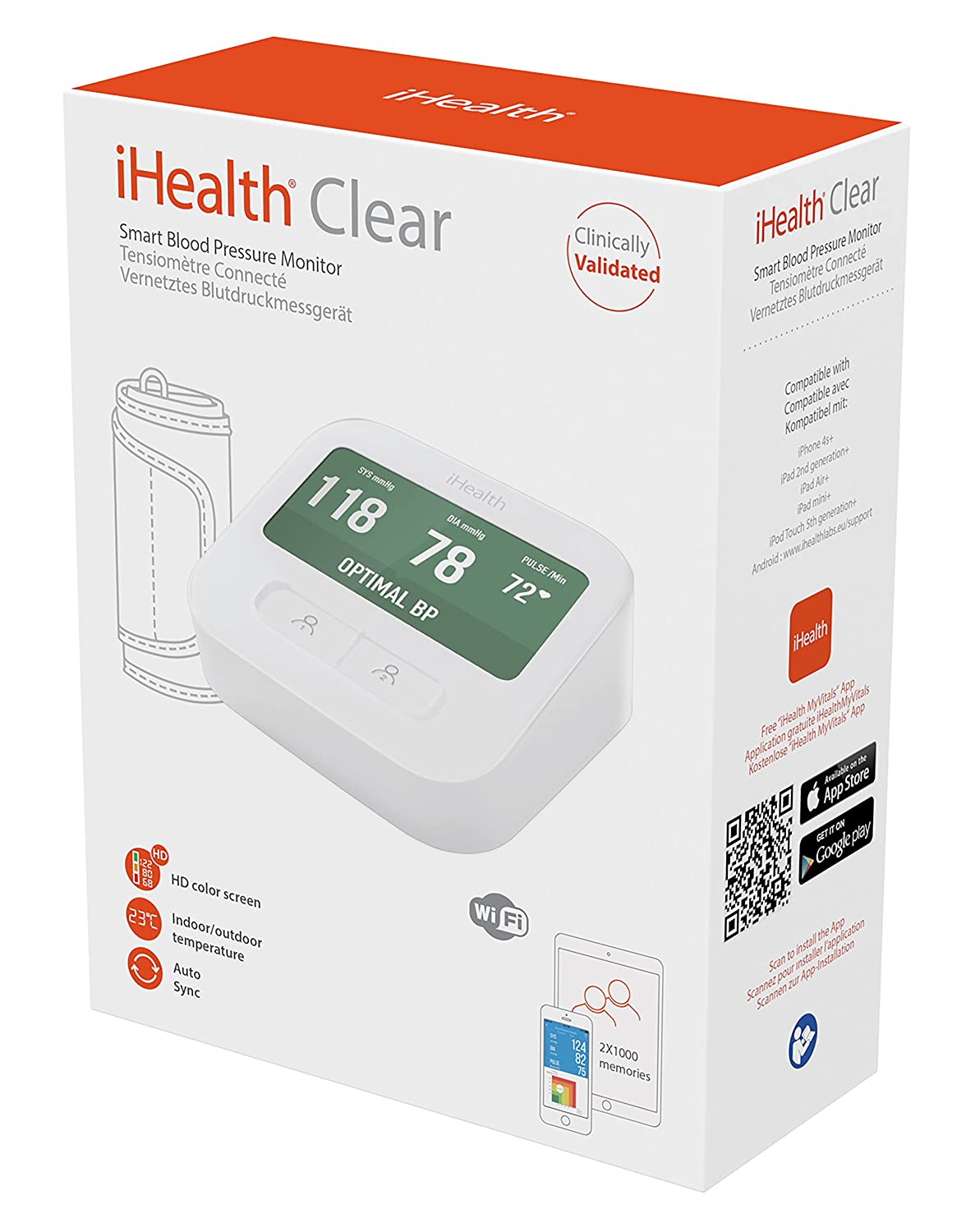 """Amazon.com: iHealth Clear Wireless Upper Arm Blood Pressure Monitor with Standard Cuff (8.7-14.2 Inch Circumference),4.3"""" LCD Color Display & 2000 Memory ..."""
