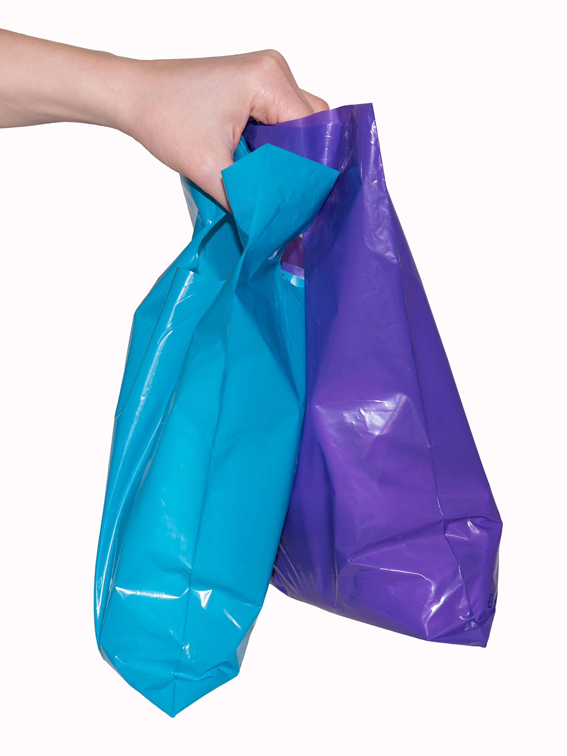 200 small glossy purple & teal plastic merchandise bags w/die cut handles 9x12'', retail shopping bags perfect for small shops & stores, trade shows, garage sales & events