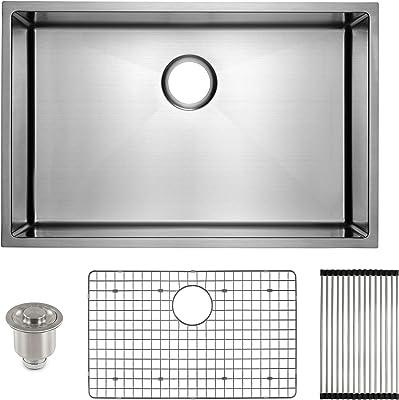 """FRIGIDAIRE Undermount Stainless Steel Kitchen Sink, 16 Gauge, Deep Basin, 27"""", For 30"""" to 36"""" Sink Cabinet"""