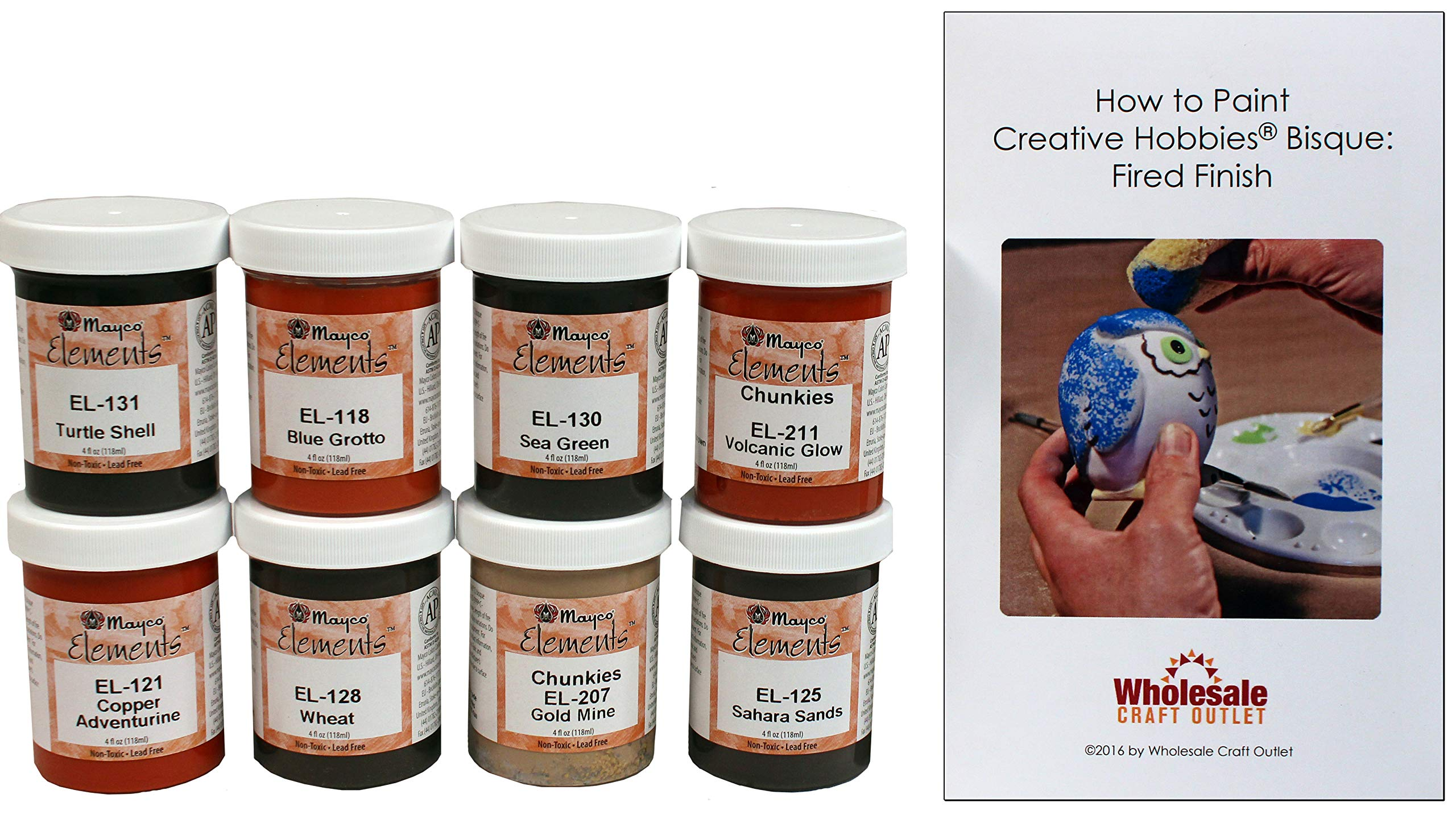 Mayco ELKIT-1 Elements Glaze Kit for Ceramics - Set of 8 Best Selling Colors in 4 Ounce Jars with Free How to Paint Ceramics Booklet