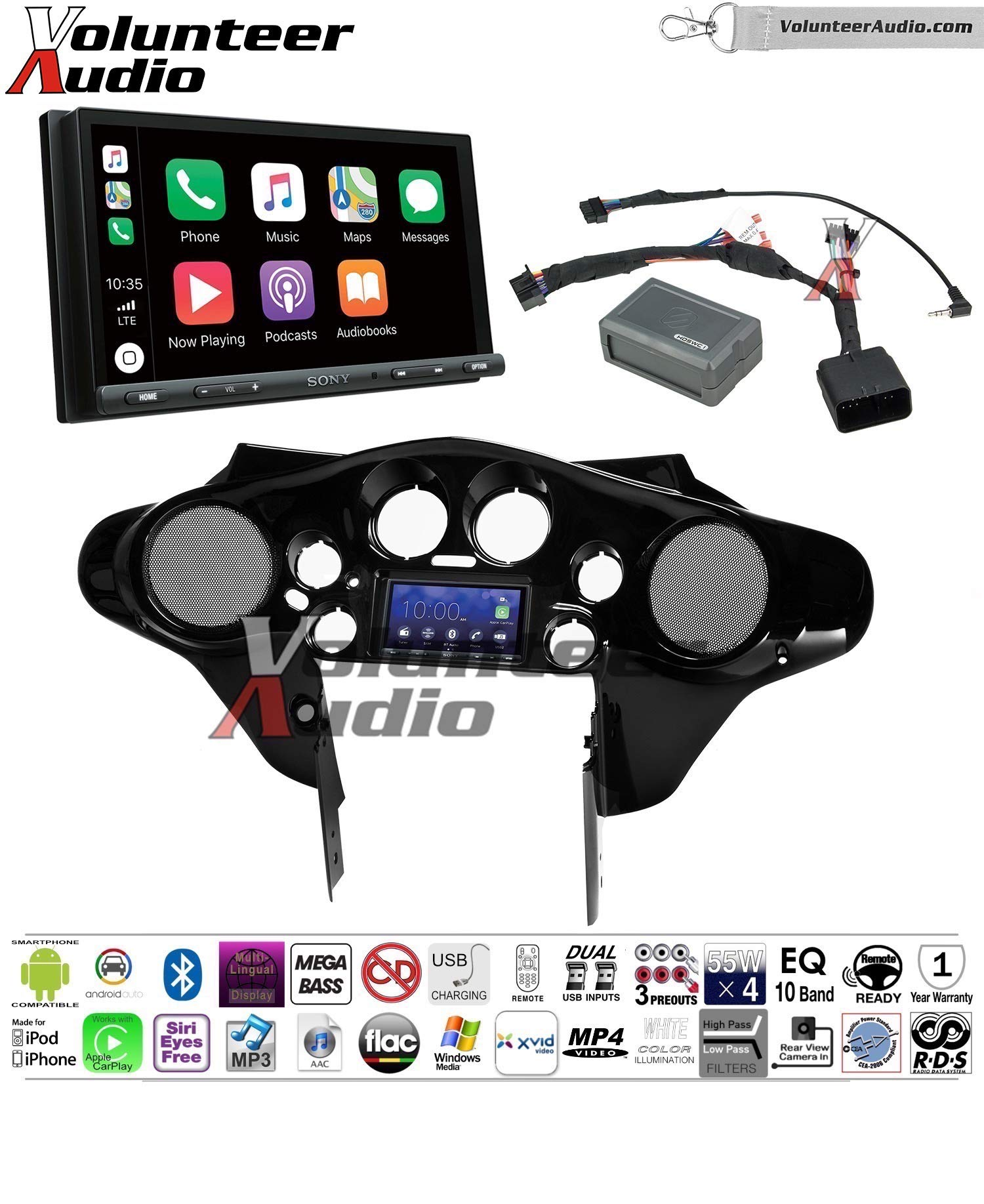 Sony XAV-AX5000 Double Din Touch Screen With Apple CarPlay, Android Auto, Bluetooth Install Kit for 98-13 Harley Davidson Batwing Fairing, Non-Road Glide Models, Metra 1 Stage Urethane Black by Volunteer Audio (Image #1)