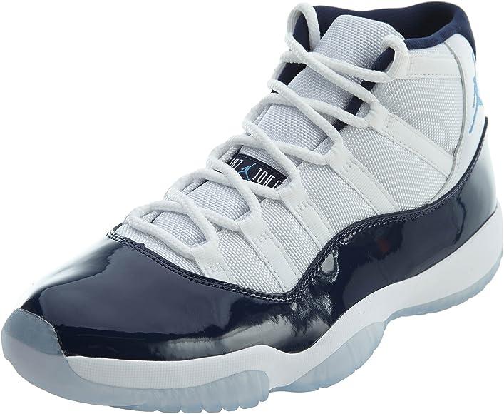 white and blue jordans 11