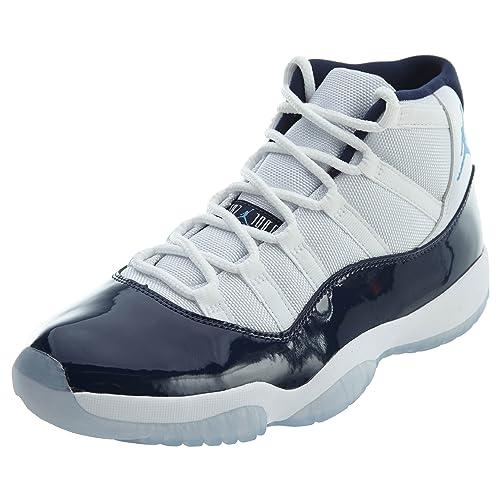 new product 9b059 23e8d Jordan Nike Men's Air 11 Retro White/Navy/Blue 378037-123 (Size: 10)