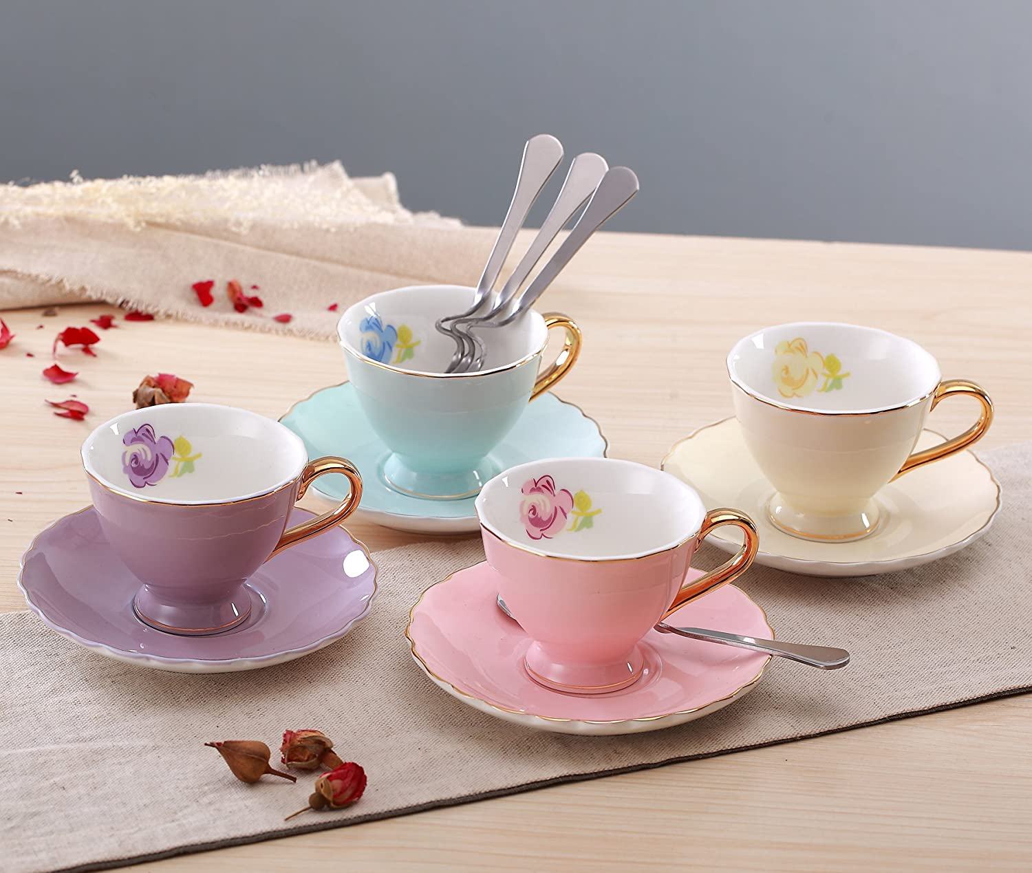 Jusalpha Porcelain Coffee Bar Espresso SMALL Cups and Saucers Set, 3-Ounce FD-TCS02-4COLOR