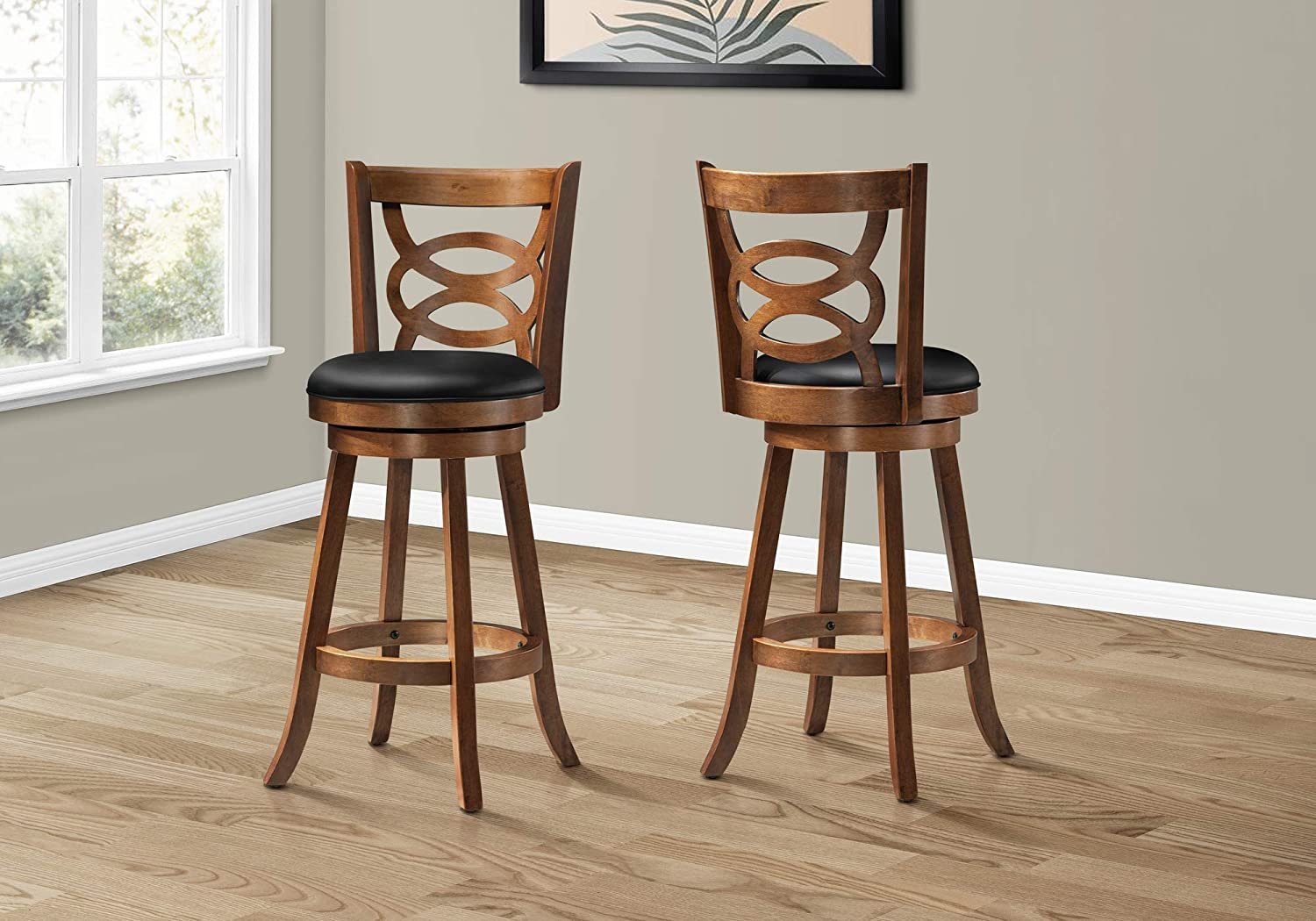 Monarch Specialties Solid Wood High Swivel Barstool 42 Inch Oak Set Of 2 Amazon Ca Everything Else