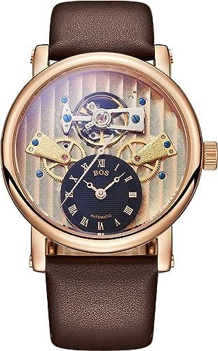BOS Watch Men s Mechanical Self-Wind Wheel Dial Stainless Steel Waterproof Watch Leather Band