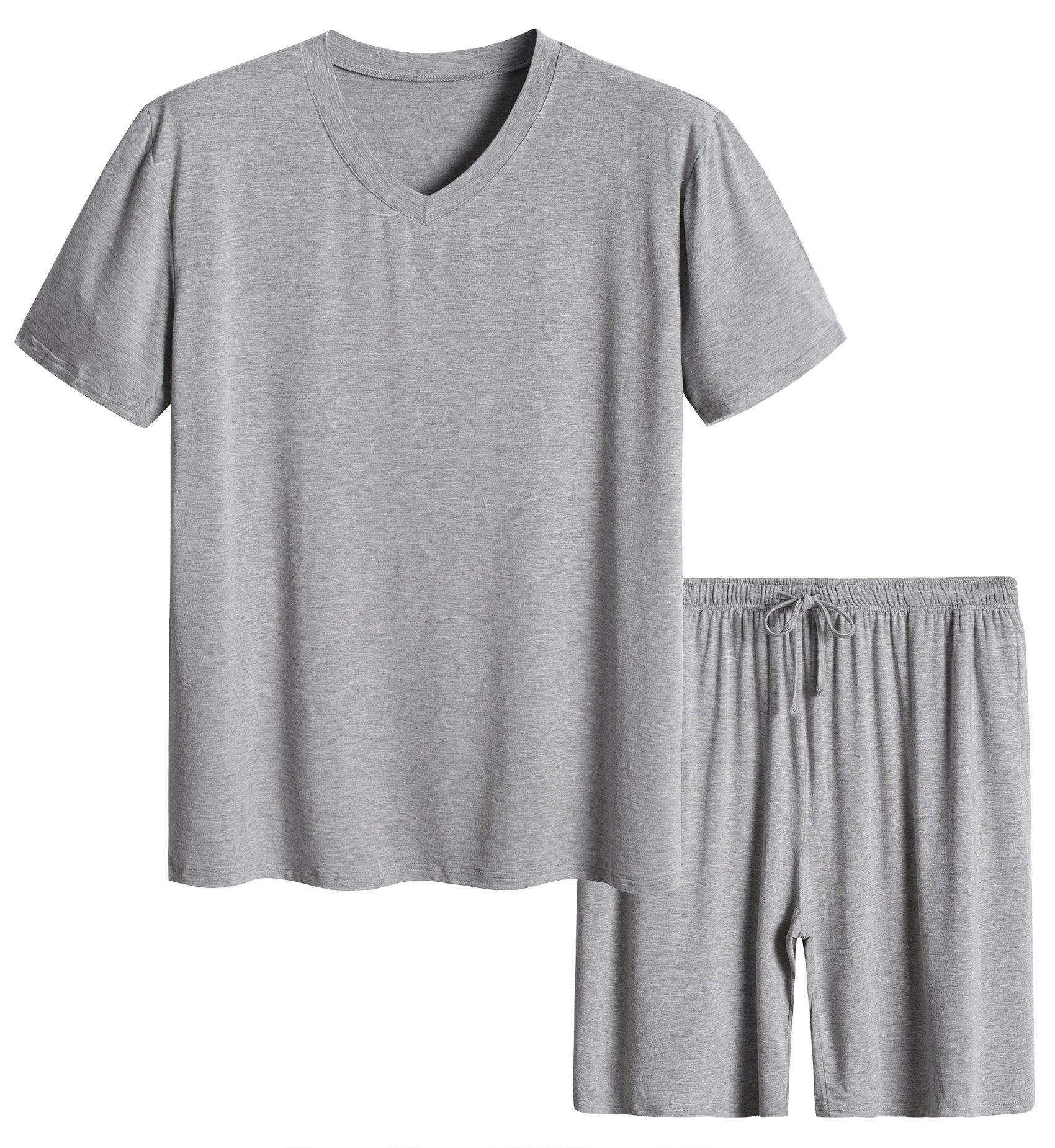 Latuza Men's Short Sleeves and Shorts Pajama Set L Light Gray