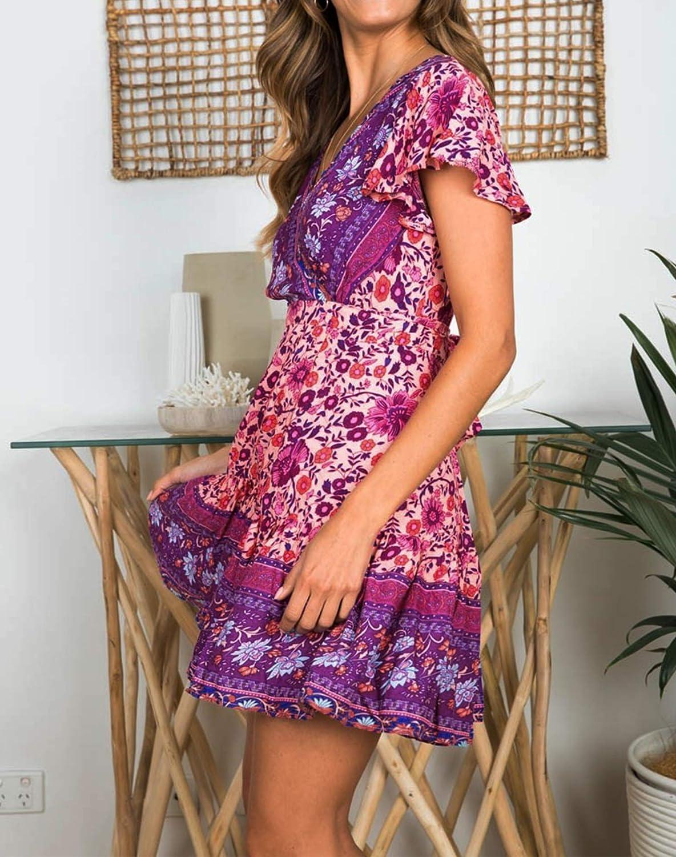 ZESICA Women/'s Summer Wrap V Neck Bohemian Floral Print Ruffle Swing A Line Beach Mini Dress
