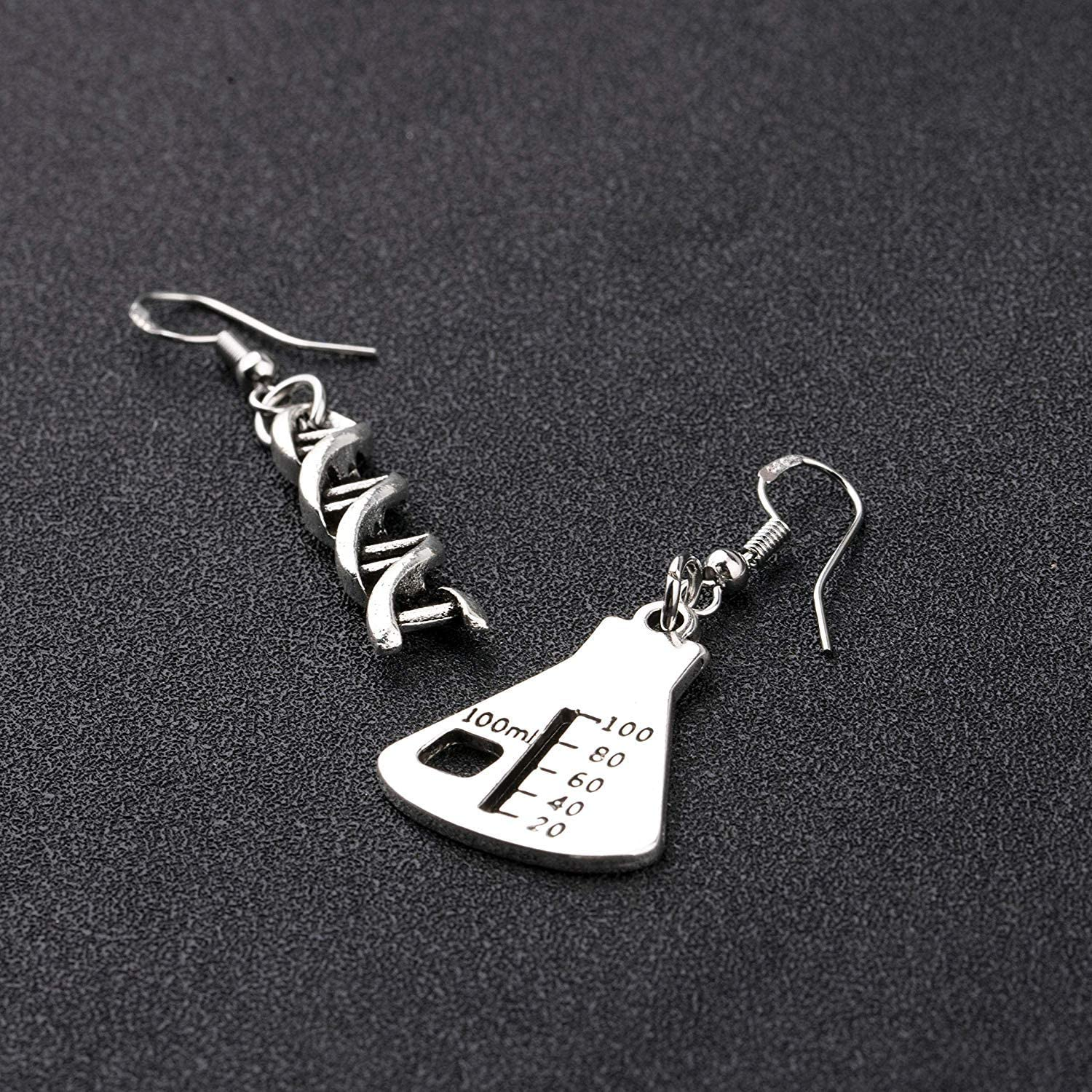 AKTAP DNA Earrings Science Flask Earrings DNA Double Helix Necklace Science Jewelry Chemistry Gifts Chemistry Biology DNA Lab Tech Charm/Earrings