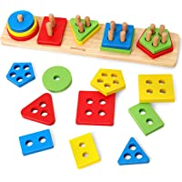 Coogam Wooden Sorting Stacking Toys, Shape Color Recognition Blocks Matching Puzzle Stacker Montessori Geometric Board…