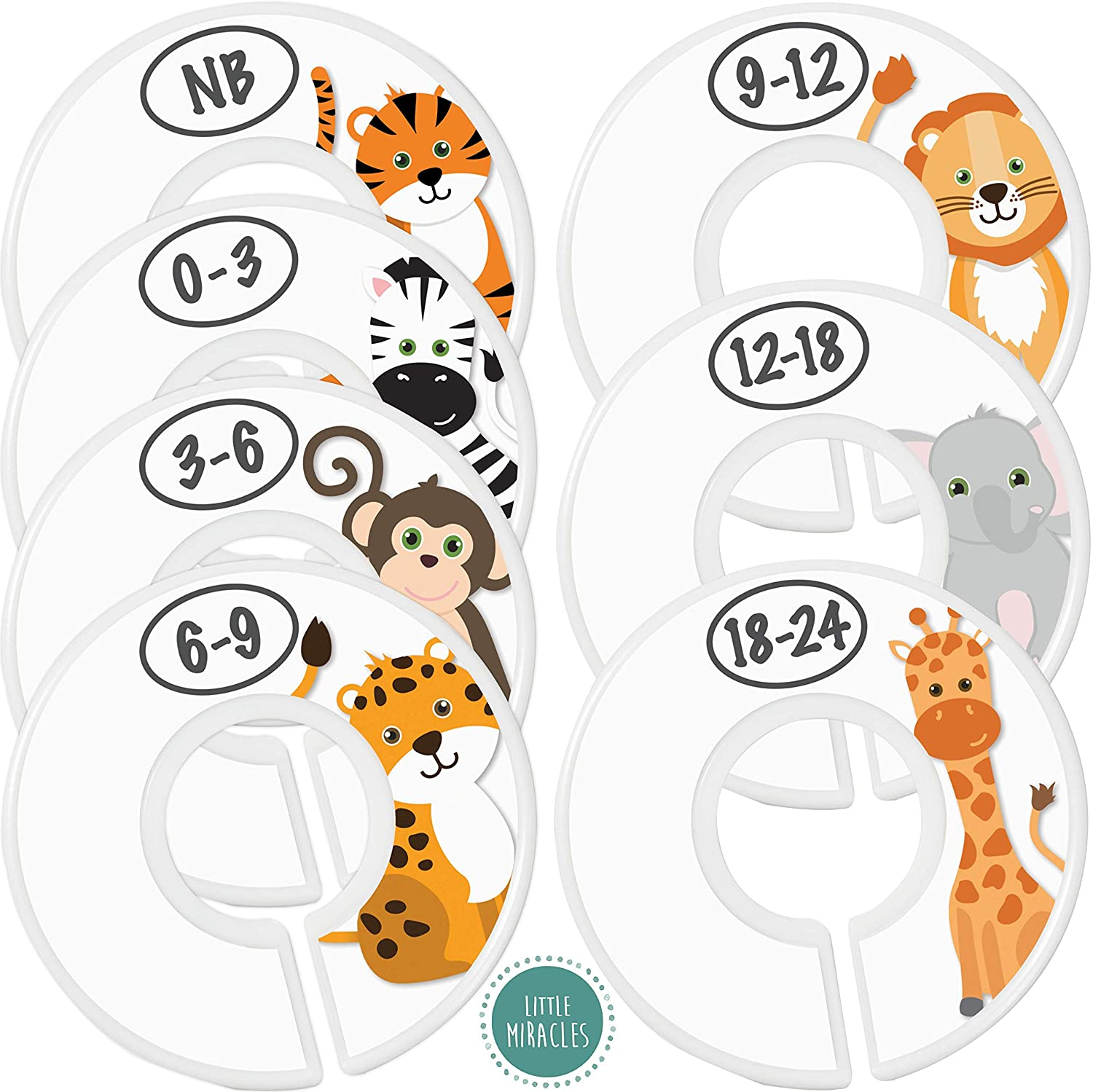 Baby Closet Size Dividers - 7X Safari Nursery Closet Dividers for Baby Clothes - Elephant Giraffe Zebra Lion Monkey Cheetah Nursery Decor - Baby Closet Dividers for Boy or Girl - [Safari] [White]