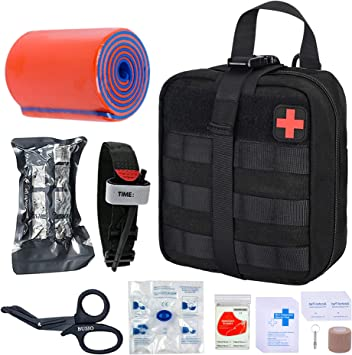 TOUROAM Tactical Emergency First Aid Kit-MOLLE Admin Pouch IFAK-Wound Dressing Blood Control EMT Survival Trauma Kit-Camp Travel Car Medic Kit