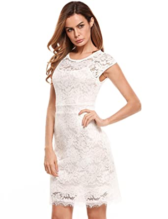 e790e2314c8 Bifast Women Sleeveless Lace Floral Elegant Cocktail Dress Crew Neck Knee  Length for Party at Amazon Women s Clothing store